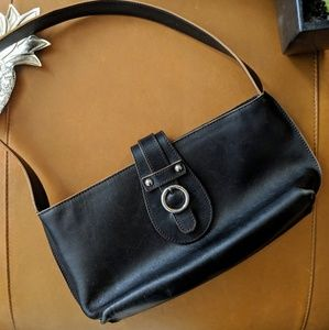Furla vintage buckle snap baguette shoulder bag